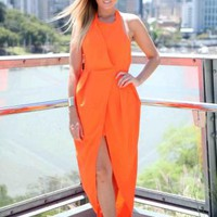 Orange Halter Neck Tulip Hem Maxi Dress