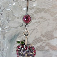 Belly ring, belly button ring with pink and purple crystal apple 14ga