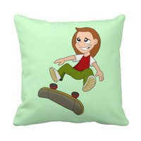 Skateboarding girl cartoon pillow