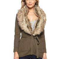 OLIVE & OAK Vintage Olive Long Sleeve Tie-Waist Cardigan with Faux Fur Collar