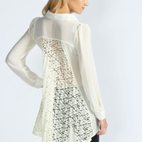 Jessica Pleated Lace Back Chiffon Blouse