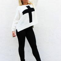 Fuzzy Open Knit Sweater with Cross Detail (T90130)