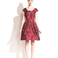 RED ROSES CAP SLEEVE PARTY DRESS
