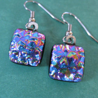 Rainbow Dichroic Fused Glass Earrings, Pink, Blue, Purple, Green, Gold - Partey - 2214 -3