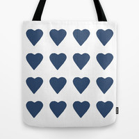 16 Hearts Navy Tote Bag by Project M