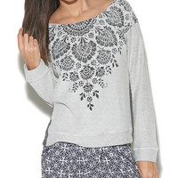 Burnout Front Crochet Back Sweatshirt | Wet Seal