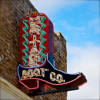 Cowboy Boot, Texas, Western Neon Art Print, Architectural, Travel Photography, Lonestar State, Southwest, home and office décor. Title: 261