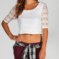 FULL TILT 3/4 Sleeve Womens Lace Crop Top