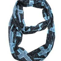Modadorn New Arrivals Fall to Winter Wood Block Cross Print Double Infinity Scarf Aqua