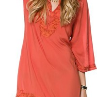 PRINT EMBROIDERED TUNIC DRESS