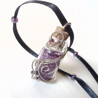 Purple fairy dust pendant necklace by PinkCupcakeJC on Etsy