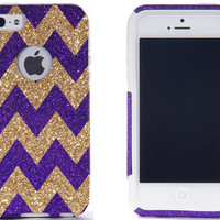 iPhone 5/5S Otterbox Case - Chevron Print Purple/Gold iPhone 5/5S Commuter Case - iPhone 5/5s Otterbox Cover
