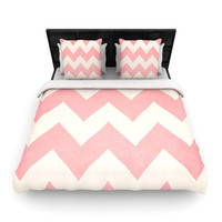 "Catherine McDonald ""Sweet Kisses"" Pink Chevron Woven Duvet Cover 