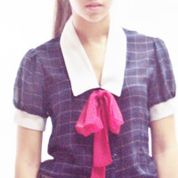 Grunge Revival Top / Navy Sheer Bow Tie Blouse M / Red White Blue Top / Windowpane Print / Large Collar Shirt