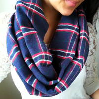Blue Red Striped Plaid Infinity scarf, Warm Boho Infinity Scarf, Neutral infinity