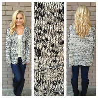 Black & White Knit Pocket Sweater Cardigan