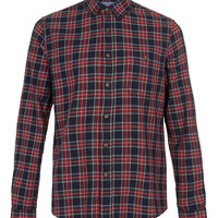 Navy Red Tartan Long Sleeve Flannel Shirt - Men's Shirts - Clothing - TOPMAN USA