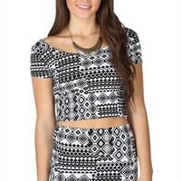Short Sleeve Tribal Print Crop Top