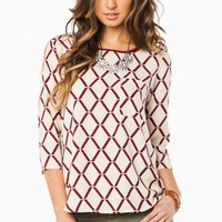 KENILWORTH BLOUSE IN IVORY AND BURGUNDY