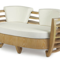 Curva Love Seat, Beige Cotton