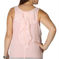 Plus Size Chiffon Tank with Pearl Trim Arm Opening Trim and Bow Back