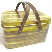 Vintage Picnic Basket Tin Woodgrain Box with Wood Handles / Metal Storage Tin