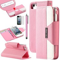 Pandamimi ULAK(TM) Pink /White PU Leather Wallet Type Magnet Design Flip Stand Case Cover For Apple iPhone 5S 5 5G- AT&T, T Mobile, Sprint, with / Wrist strap+Screen Protector+ Touch Stylus