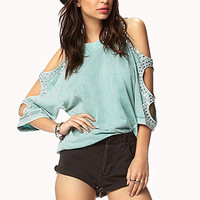 Bejeweled Cutout Sleeve Tee