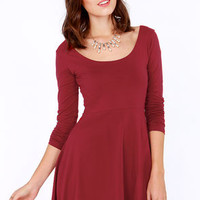 Scoop's On! Wine Red Skater Dress