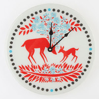 Deer Flowers Wall Clock