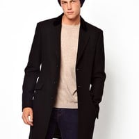 ASOS Wool Overcoat With Velvet Collar