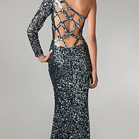 One Shoulder Floor Length Sequin Dress