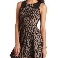 FAUX LEATHER TRIM ANIMAL DRESS