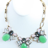 Jade Pink Black Stone Necklace Set