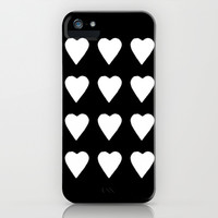 16 Hearts White on Black iPhone & iPod Case by Project M