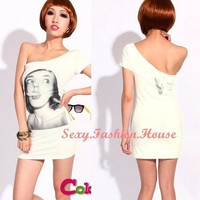 Sex Women One Shoulder Women Image Slender Stretch Mini Dress Party Cocktail 1bc