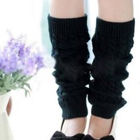 Women Lady Fashion Knee High Leg Socks Banket Winter Knit Crochet Warmer Legging Black