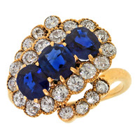 Antique Asymmetric Sapphire Diamond Ring