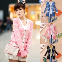 Women Korea Stripe Cardigan Sweater Outerwear Knitwear Knitted Coat Winter K590