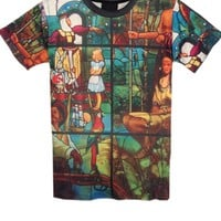 Street-chic Oil Painting Print Short Sleeve Tee