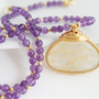 Amethyst Necklace with Golden Rutilated Quartz by Jewels2Luv