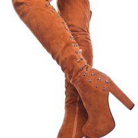 TAN FAUX SUEDE STUDDED OVER THE KNEE PLATFORM BOOTS