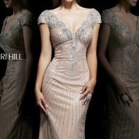 Beaded Short Sleeved Gown by Sherri Hill