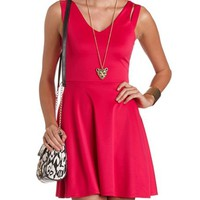 CUTOUT SHOULDER SKATER DRESS