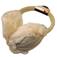 Adjustable Cable Knit Soft Furry Women Ear Muffs (One Size)