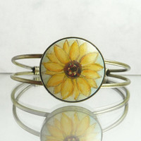 Sunflower Charm Bracelet Hand Painted Flower, Sunflower Bangle Bracelet with Setting in Antique Bronze Color, Charm Jewelry