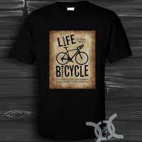Albert Einstein live bicycle Black Design By Custom And Clothing T-Shirt men size S,M,L,XL