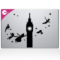 Peter Pan Clock Tower Flying with Friends Night Sky Apple Apple Silhouette Macbook Symbol Keypad Iphone Apple Ipad Decal Skin Sticker Laptop
