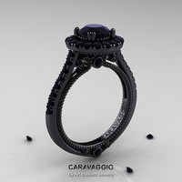 Caravaggio 14K Black Gold 1.0 Ct Black Diamond Engagement Ring, Wedding Ring R621-14KBGBD