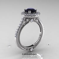 Caravaggio 14K White Gold 1.0 Ct Black and White Diamond Engagement Ring, Wedding Ring R621-14KWGDBD